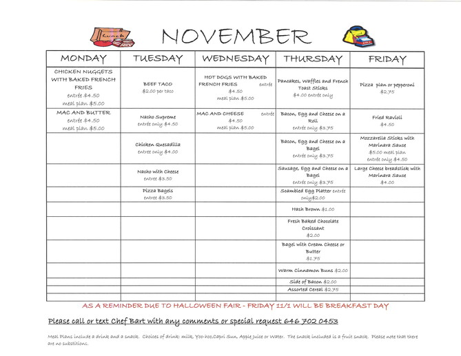 November Lunch Box Cafe Menu